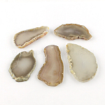 Dyed Mixed Shape Natural Agate Gemstone Big Pendants, Gray, 50~110x23~50x5~7mm, Hole: 2mm