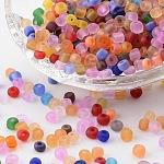 ガラスシードビーズ, つや消し色, ラウンド, ミックスカラー, 4mm, 穴:1~1.5ミリメートル、約4500個/ポンド