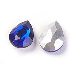 Strass en verre pointé , dos plaqué, facette, larme, bleu royal, 14x10x5mm