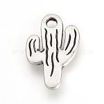 Tibetan Style Alloy Pendants, Cactus, Cadmium Free & Lead Free, Antique Silver, 19.5x13x2mm, Hole: 2mm