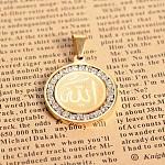 304 Stainless Steel Crystal Rhinestone Flat Round with Allah Pendants, Arabic Pendants, Golden, 29x25x3mm, Hole: 4.5x8mm
