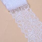 Эластичная кружевная отделка, кружевная лента для шитья украшения, белые, 80 мм