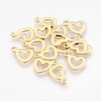 304 Stainless Steel Open Heart Pendants, Hollow, Golden, 10.5x14x1mm, Hole: 1.2mm
