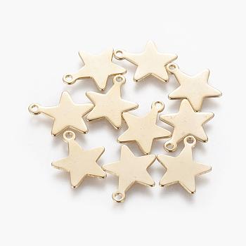 304 charms in acciaio inox, stella, oro, 15x12.5~13x0.5mm, Foro: 1.4 mm