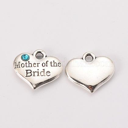 Тема свадьбы античный серебряный тон тибетский стиль сплава сердца с матерью невесты горный хрусталь подвескиX-TIBEP-N005-18D-1