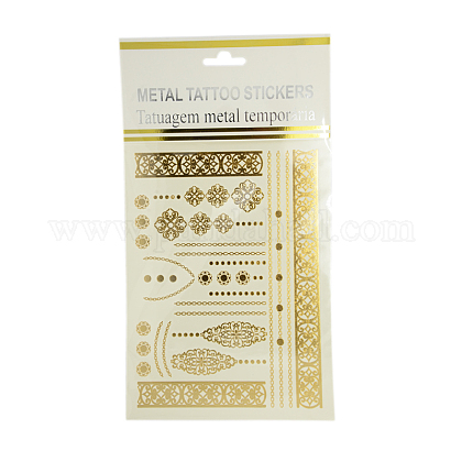 Cool Body Art Mixed Floral Pattern Removable Fake Temporary Tattoos Metallic Paper Stickers AJEW-I008-08-1
