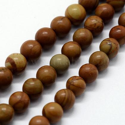 Natural Wood Lace Stone Beads StrandsG-I199-17-8mm-1