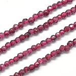 Natural Garnet Beads Strands, Faceted, Round, Cerise, 2mm, Hole: 0.5mm