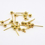 Brass Ball Post Ear Studs, Stud Earring Findings, with Loop, Golden, 15x4mm, Hole: 1mm