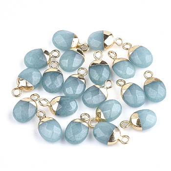 Electroplate Natural Jade Charms, with Iron Findings, Faceted, Oval, Golden, 14~15x8x5~5.5mm, Hole: 1.8mm