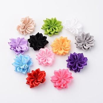 Accessoires de costume tissés en ruban manuelles, fleur, couleur mixte, 35~40x5~6 mm; environ 12 pcs / set
