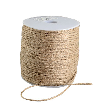 Earthy Colored Hemp Cord, Hemp String, Hemp Twine, 3-Ply, for DIY Macrame Crafting, Tan, 2mm; 100m/roll