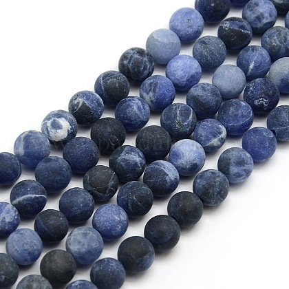 Chapelets de perles rondes en sodalite mate naturelleG-M064-6mm-01-1