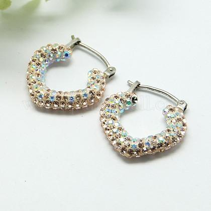 Resin Austrian Crystal EarringsEJEW-G108-02-1