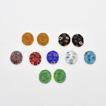 Cabuchones de cristal de murano ovalesX-LK-F007-6x8mm-M-1