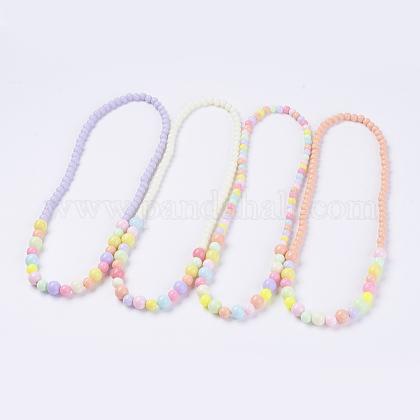 Solid Chunky Bubblegum Acrylic Ball Bead Kids NecklacesNJEW-JN02091-1
