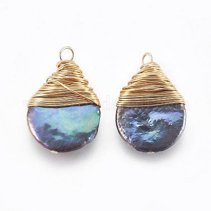Colgantes naturales de perlas cultivadas de agua dulcePEAR-P059-O02-1