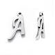 304ステンレススチール製チャーム  アルファベット  レーザー切断  ステンレス鋼色  手紙〜Zを  10~14.5x4~14x1mm  穴:1ミリメートル; 26個/セット。STAS-R105-3