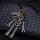 Adjustable Men's Zinc Alloy Pendant and Leather Cord Lariat NecklacesNJEW-BB15999-3