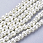 Glass Pearl Beads Strands, Pearlized, Round, Creamy White, 6mm, Hole: 1mm, about 140pcs/strand, 32