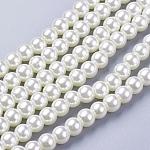 Стеклянные жемчужные бусины, жемчужные, круглые, кремово-белые, 6 мм, отверстие : 1 мм, около 140 шт / нитка, 32