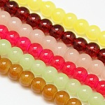 Imitation Jade Glass Round Bead Strands, Mixed Color, 6mm, Hole: 1mm; about 68pcs/strand, 15.7