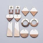 Colgantes de resina y madera de nogal, plano redondo y anillo y rectángulo y rombo y corazón y trapecio, blanco, 12 PC / sistema