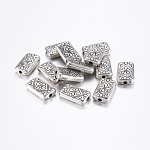 CCB Plastic Beads, Rectangle with Flower, Antique Silver, 21.5x13x5mm, Hole: 3mm