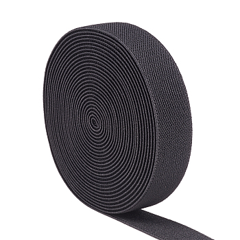 Flat Elastic Rubber Cord/Band, Webbing Garment Sewing Accessories, Black, 24.5x2mm; about 5m/roll