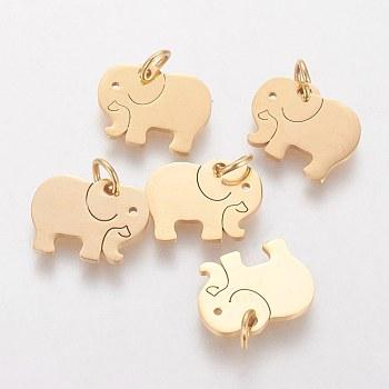 Colgantes de 304 acero inoxidable, elefante, dorado, 11x14x1mm, agujero: 3 mm