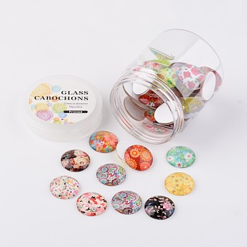 Glass Cabochons, Floral Printed, Flatback Half Round/Dome, Mixed Color, 25x7mm; about 50pcs/box