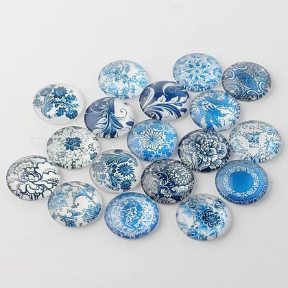 Azul y blanco florales impresos cabuchones de vidrioGGLA-A002-18mm-XX-1