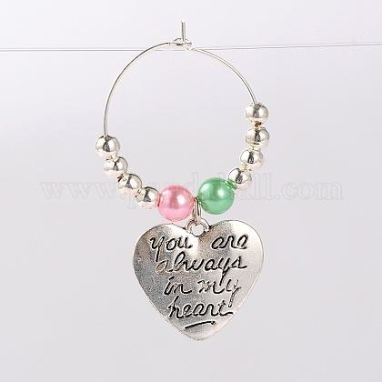 Tibetan Style Heart with Word You Are Always In My Heart Wine Glass CharmsAJEW-JO00028-06-1