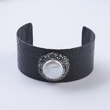 Handmade Snakeskin Leather Cord Cuff BraceletsBJEW-F073-A19-1