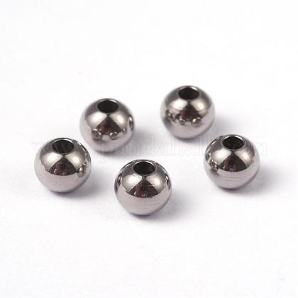 Round 304 Stainless Steel Beads STAS-O091-B-04P-1