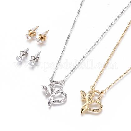 304 Stainless Steel Jewelry SetsSJEW-F214-08-1