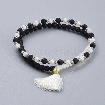 Electroplate Glass Beads Stretch Bracelet SetsBJEW-JB04388-02-1