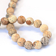 Frosted Natural Picture Jasper Round Bead Strands G-E334-12mm-26-3