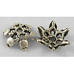 Tibetan Style Alloy Bead Caps, Lead Free, Cadmium Free and Nickel Free, Flower, Antique Silver, about 12mm in diameter, 4mm thick, hole: 1mm