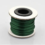Macrame Rattail Chinese Knot Making Cords Round Nylon Braided String Threads, Satin Cord, DarkGreen, 2mm; about 10m/roll