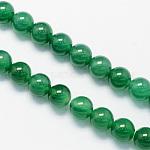 ラウンド染め加工天然のグリーンオニキスアゲート瑪瑙ビーズ連売り, 8mm, 穴:1.5mm、約48個/連, 15.1