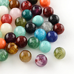 Round Imitation Gemstone Acrylic Beads, Mixed Color, 6mm, Hole: 1.5mm; about 4100pcs/500g