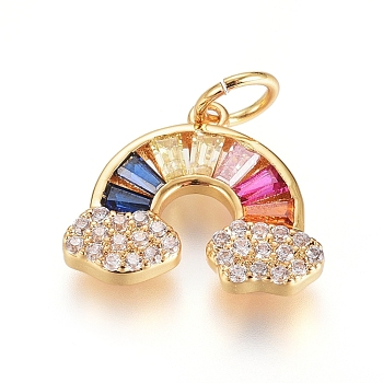 Colgante micropavé cubic zirconia de latón, con anillo de salto, Plateado de larga duración, arco iris, colorido, real 18k chapado en oro, 11.5x14x2mm, agujero: 3.5 mm