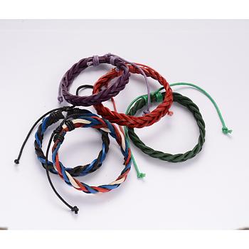 Pulseras cordón de cuero trenzado ajustable, con cordón encerado, color mezclado, 64mm