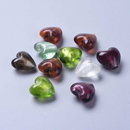 Perles en verre d'argent feuille manuellesSLH20MMY-1-1