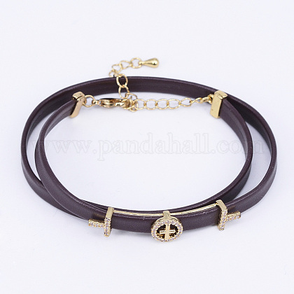 PU Leather Cord Choker Necklaces NJEW-H477-41G-1