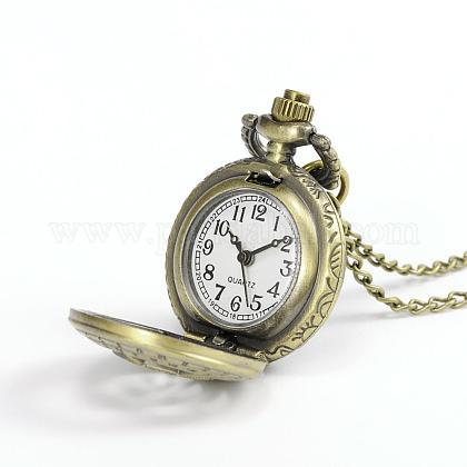 ローマ数字フラットラウンド合金クォーツ懐中時計WACH-N039-20AB-1