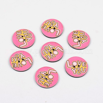 2-Hole Flat Round with Love You Pattern Acrylic Buttons BUTT-F055-05E-1