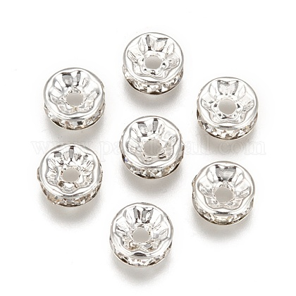 200pcs Clear White Rhinestone Rondelle Spacer Beads RB-A014-Z8mm-01S-1
