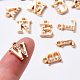 Light Gold Plated Alloy Rhinestone Charms ALRI-T008-01G-5
